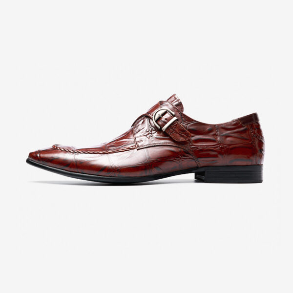 Buckle shoes men's shoes British style trend of the first set of toe shoes business dress leather shoes cattle Pimeng Ke