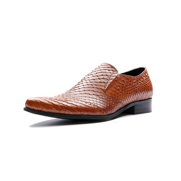 Aax-Fory-European-and-American-men-and-men's-business-dress-shoes-British-style-leather-python-pattern-sets-toes-head-Loafers