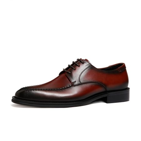 Derby shoes men's shoes British retro leather square head shoes male business men first layer of leather shoes Goodyear