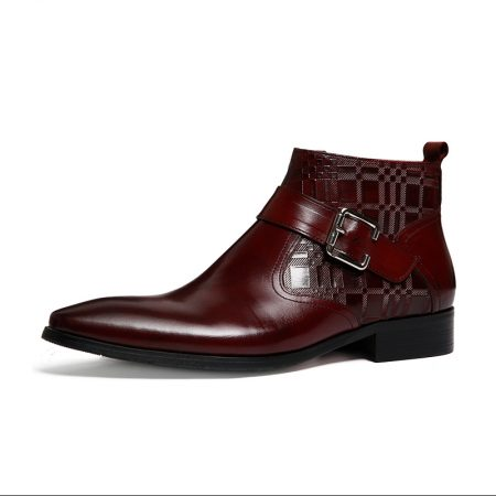 Aax Fory embossed leather Chelsea boots zipper boots buckle boots Commerce pointed Martin boots male British