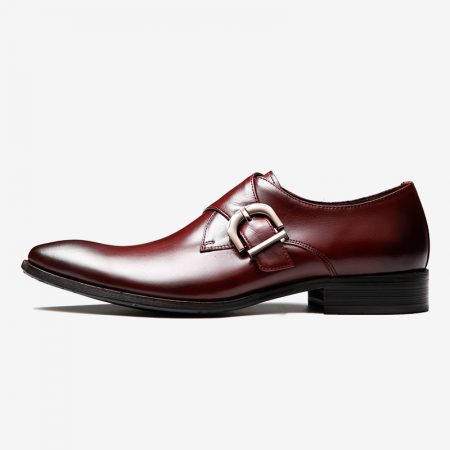 Munch first layer of leather shoes, men fastener prongs plain Derby England tidal shoes breathable business dress shoes