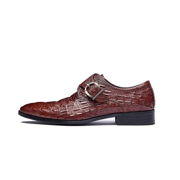 Munch-Aax-Fory-single-fastener-prongs-Derby-shoes-crocodile-leather-breathable-shoes-men's-business-suits